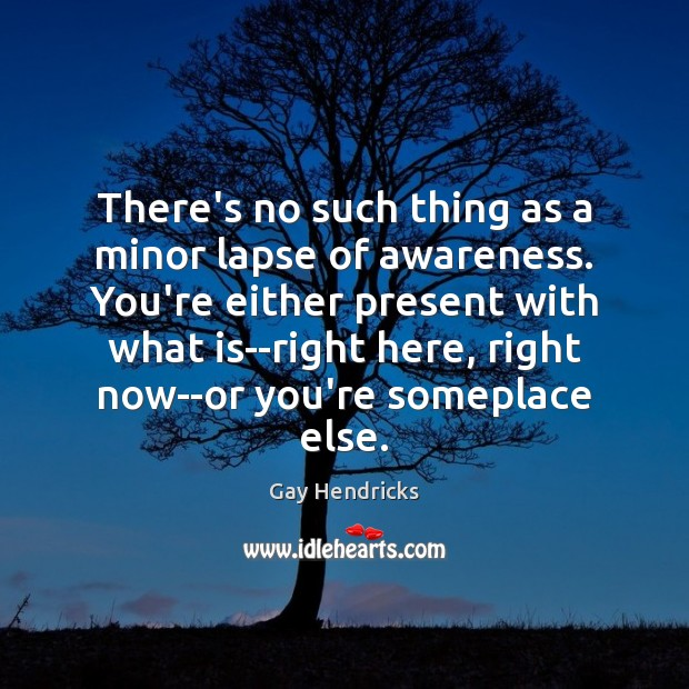 There's no such thing as a minor lapse of awareness. You're either Gay Hendricks Picture Quote
