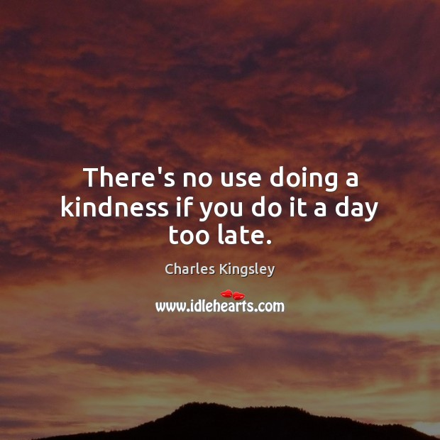 There's no use doing a kindness if you do it a day too late. Charles Kingsley Picture Quote