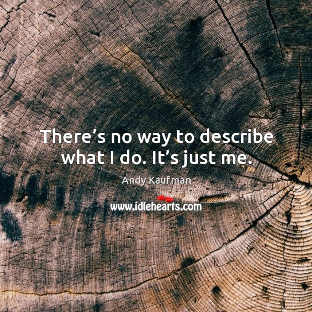 There's no way to describe what I do. It's just me. Image