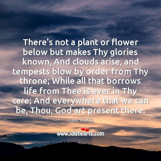 There's not a plant or flower below but makes Thy glories known, Flowers Quotes Image