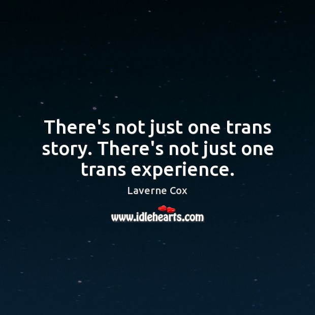 There's not just one trans story. There's not just one trans experience. Laverne Cox Picture Quote