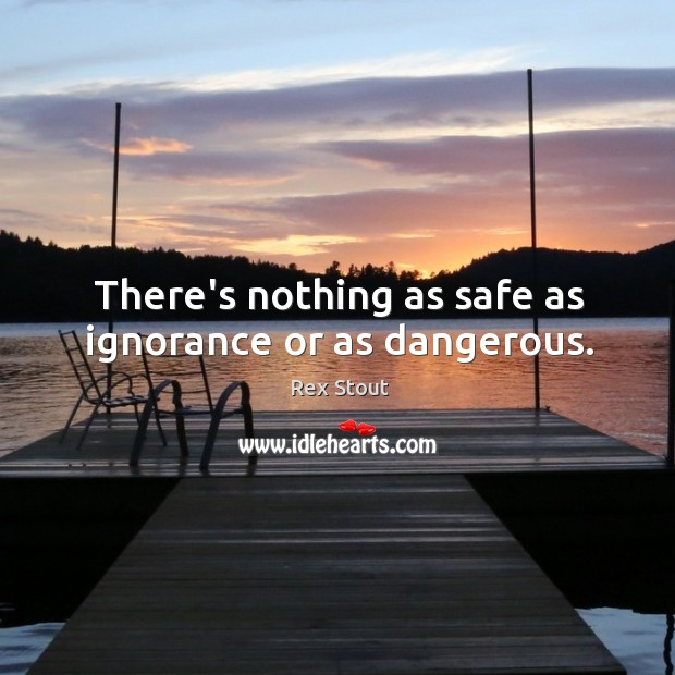 There's nothing as safe as ignorance or as dangerous. Image