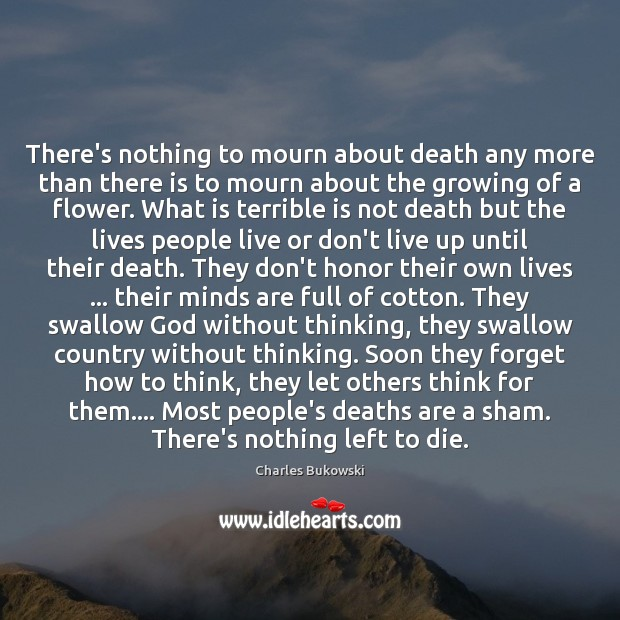 There's nothing to mourn about death any more than there is to Image