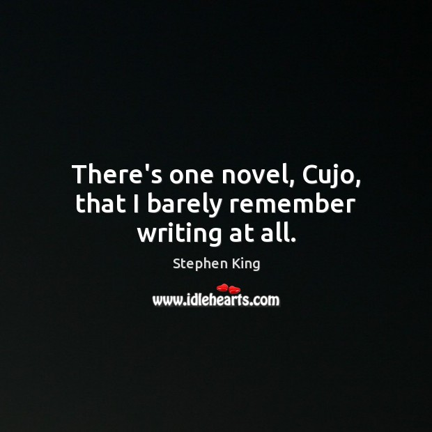 There's one novel, Cujo, that I barely remember writing at all. Image