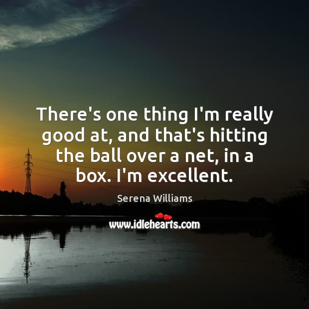 There's one thing I'm really good at, and that's hitting the ball Serena Williams Picture Quote