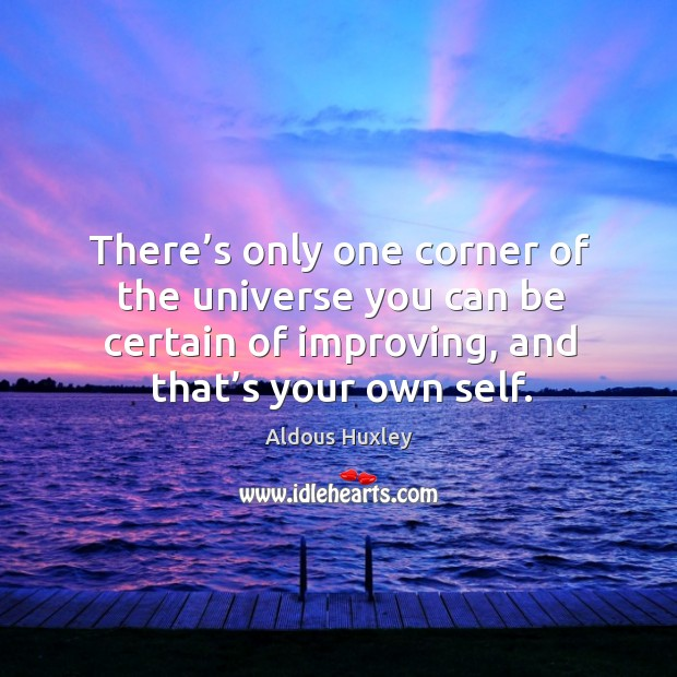Image, There's only one corner of the universe you can be certain of improving, and that's your own self.