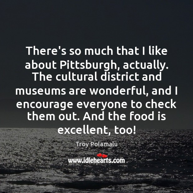 There's so much that I like about Pittsburgh, actually. The cultural district Troy Polamalu Picture Quote