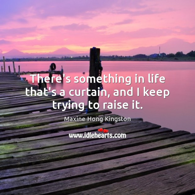 There's something in life that's a curtain, and I keep trying to raise it. Maxine Hong Kingston Picture Quote