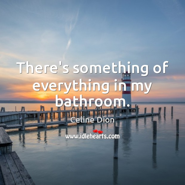There's something of everything in my bathroom. Celine Dion Picture Quote