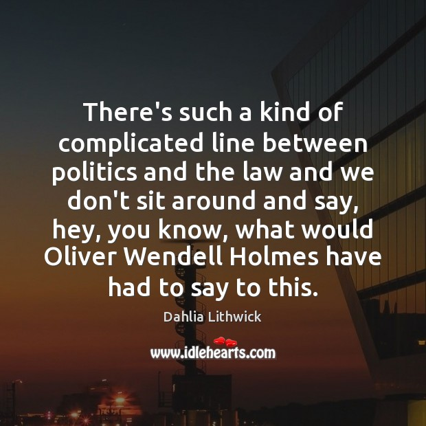 There's such a kind of complicated line between politics and the law Dahlia Lithwick Picture Quote
