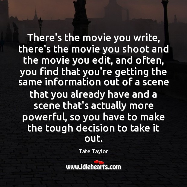 There's the movie you write, there's the movie you shoot and the Tate Taylor Picture Quote