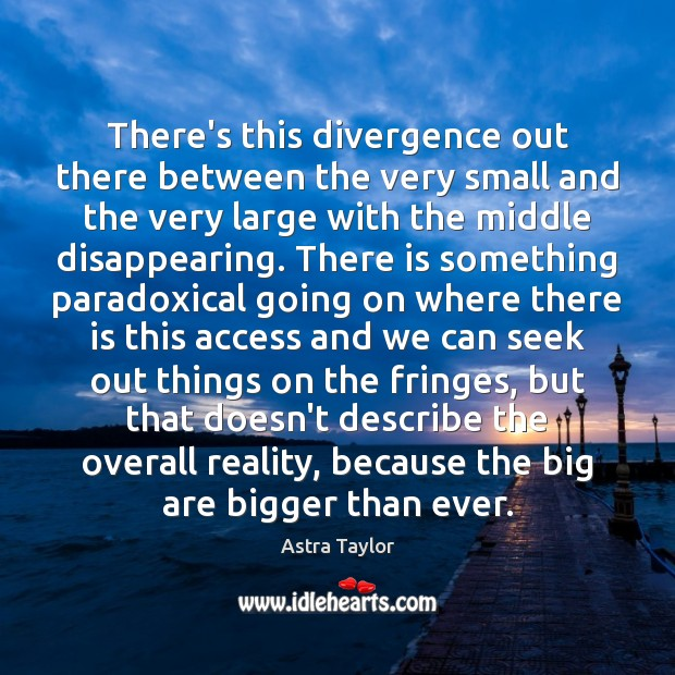 Image, There's this divergence out there between the very small and the very