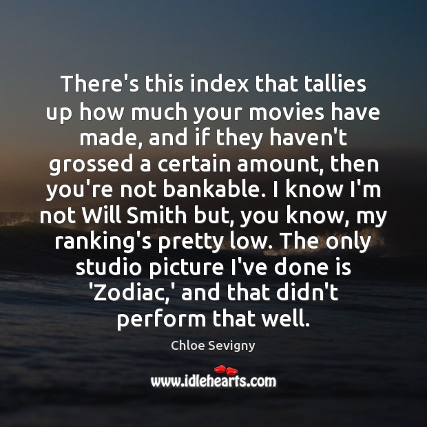 There's this index that tallies up how much your movies have made, Chloe Sevigny Picture Quote