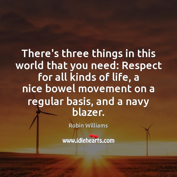 There's three things in this world that you need: Respect for all Robin Williams Picture Quote