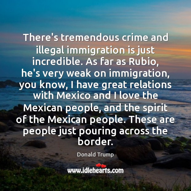 There's tremendous crime and illegal immigration is just incredible. As far as Image