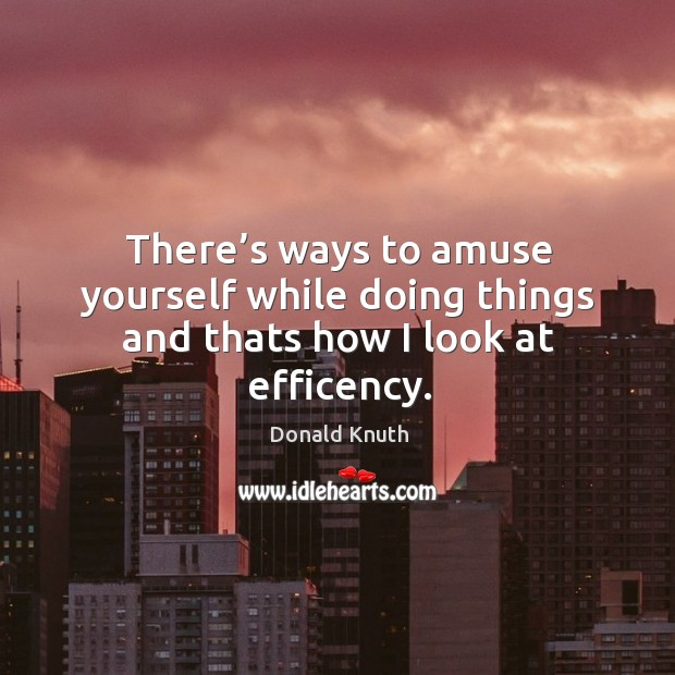 There's ways to amuse yourself while doing things and thats how I look at efficency. Donald Knuth Picture Quote