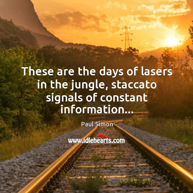 These are the days of lasers in the jungle, staccato signals of constant information… Image