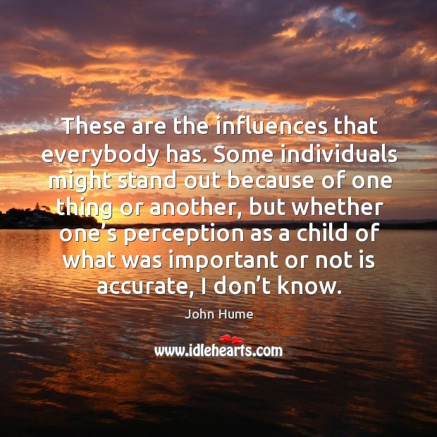 These are the influences that everybody has. Some individuals might stand out because.. John Hume Picture Quote