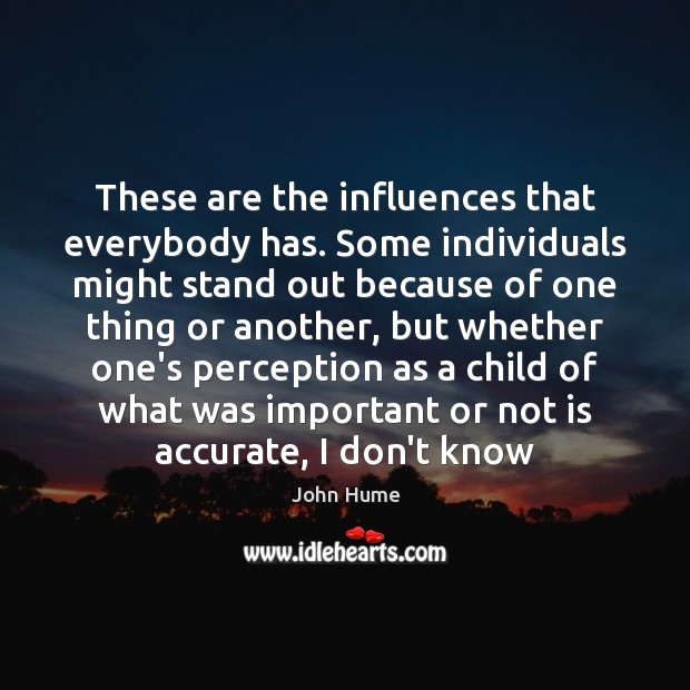These are the influences that everybody has. Some individuals might stand out John Hume Picture Quote