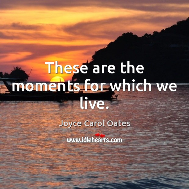 These are the moments for which we live. Image