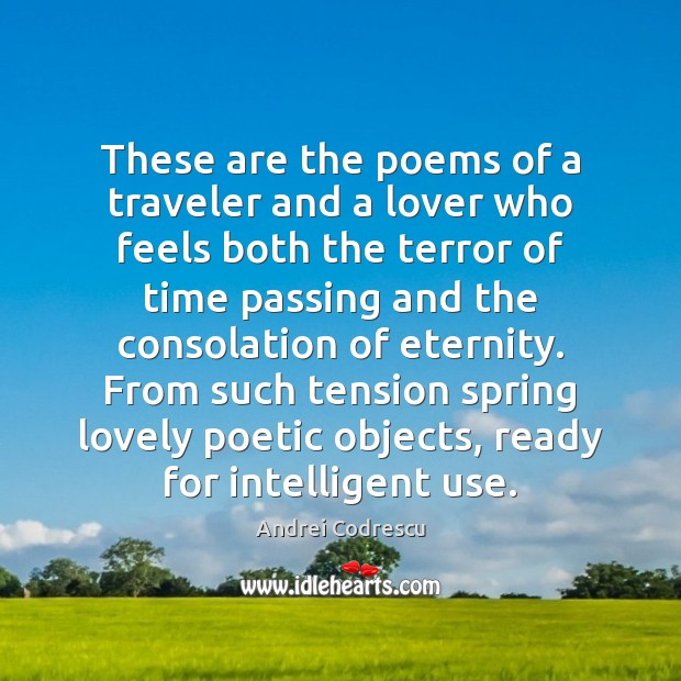 Image, These are the poems of a traveler and a lover who feels