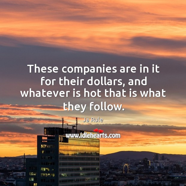 These companies are in it for their dollars, and whatever is hot that is what they follow. Ja Rule Picture Quote