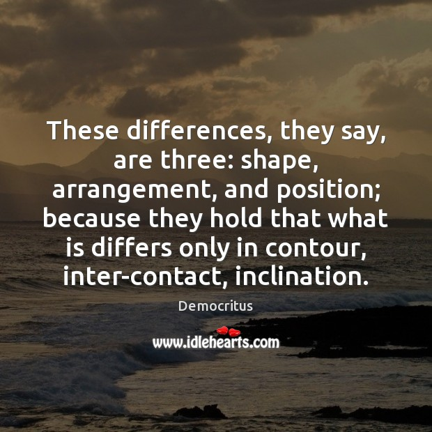 These differences, they say, are three: shape, arrangement, and position; because they Democritus Picture Quote