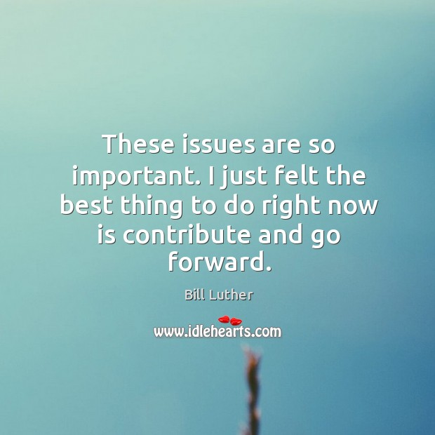 Image, These issues are so important. I just felt the best thing to do right now is contribute and go forward.