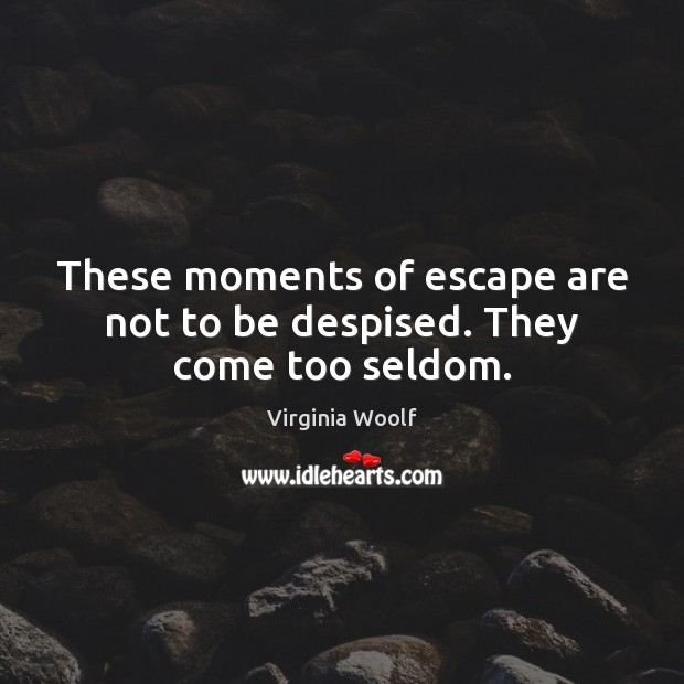 These moments of escape are not to be despised. They come too seldom. Virginia Woolf Picture Quote