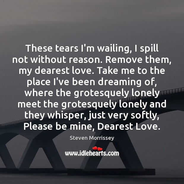 These tears I'm wailing, I spill not without reason. Remove them, my Image