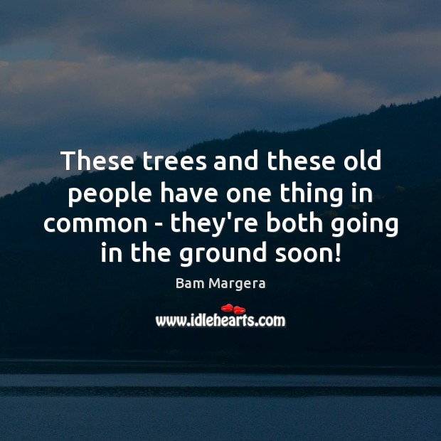These trees and these old people have one thing in common – Bam Margera Picture Quote