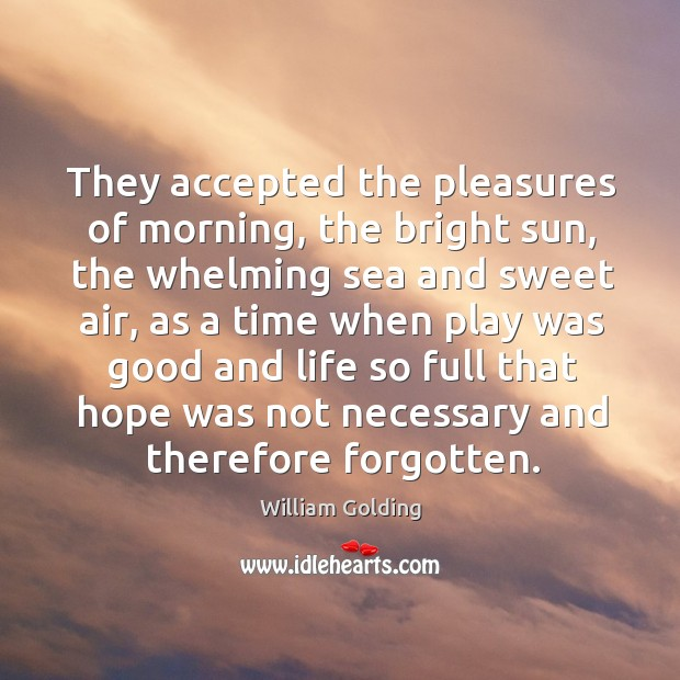 They accepted the pleasures of morning, the bright sun, the whelming sea Image
