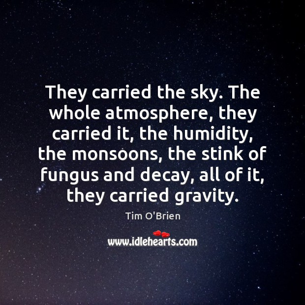 They carried the sky. The whole atmosphere, they carried it, the humidity, Tim O'Brien Picture Quote