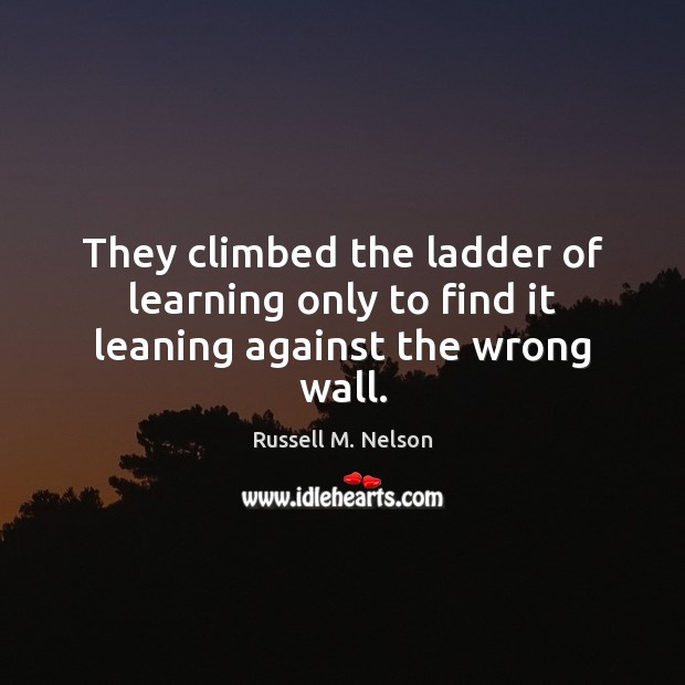They climbed the ladder of learning only to find it leaning against the wrong wall. Image