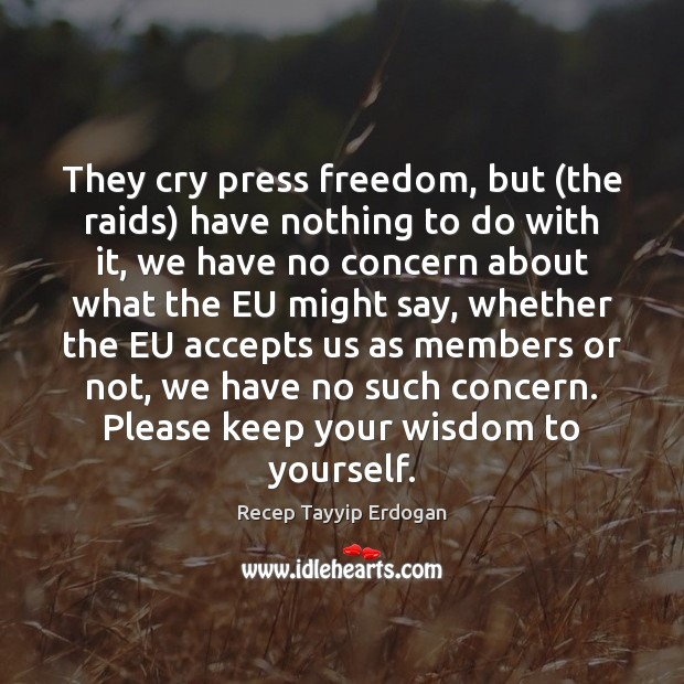 They cry press freedom, but (the raids) have nothing to do with Recep Tayyip Erdogan Picture Quote