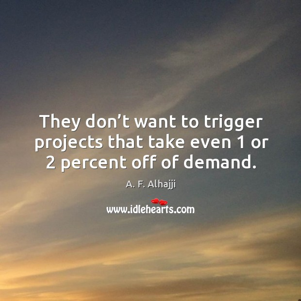 They don't want to trigger projects that take even 1 or 2 percent off of demand. Image