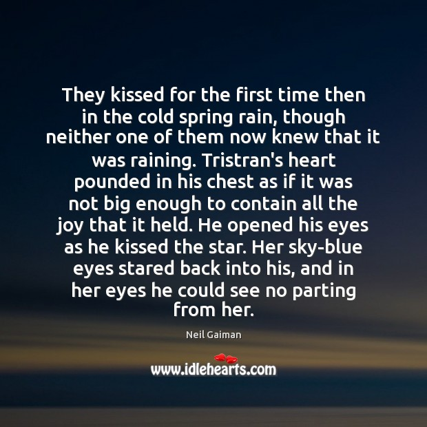 They kissed for the first time then in the cold spring rain, Image