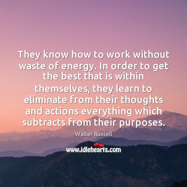 They know how to work without waste of energy. In order to Walter Russell Picture Quote