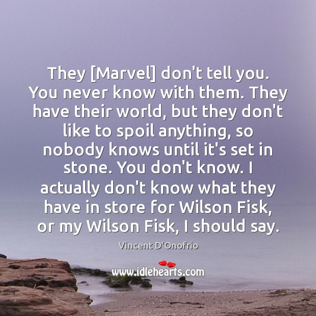 They [Marvel] don't tell you. You never know with them. They have Vincent D'Onofrio Picture Quote