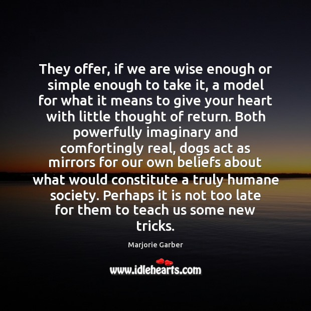 They offer, if we are wise enough or simple enough to take Marjorie Garber Picture Quote