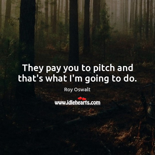 They pay you to pitch and that's what I'm going to do. Image