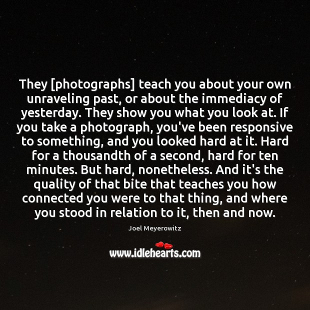They [photographs] teach you about your own unraveling past, or about the Image