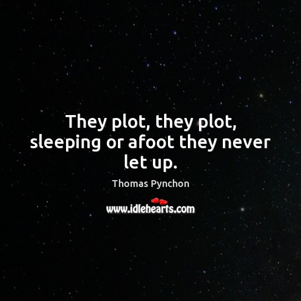 They plot, they plot, sleeping or afoot they never let up. Image
