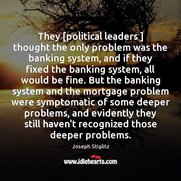 Image, They [political leaders ] thought the only problem was the banking system, and