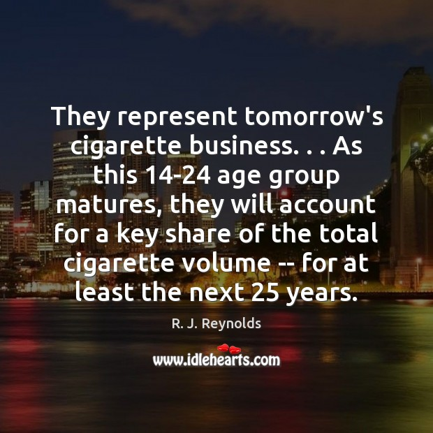 Image, They represent tomorrow's cigarette business. . . As this 14-24 age group matures, they