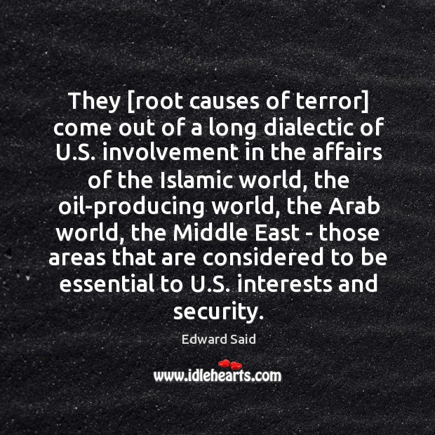 They [root causes of terror] come out of a long dialectic of Image