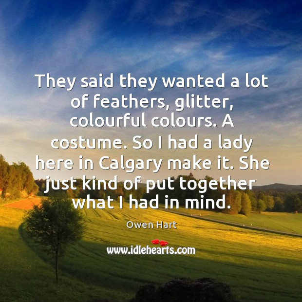 They said they wanted a lot of feathers, glitter, colourful colours. A costume. Image