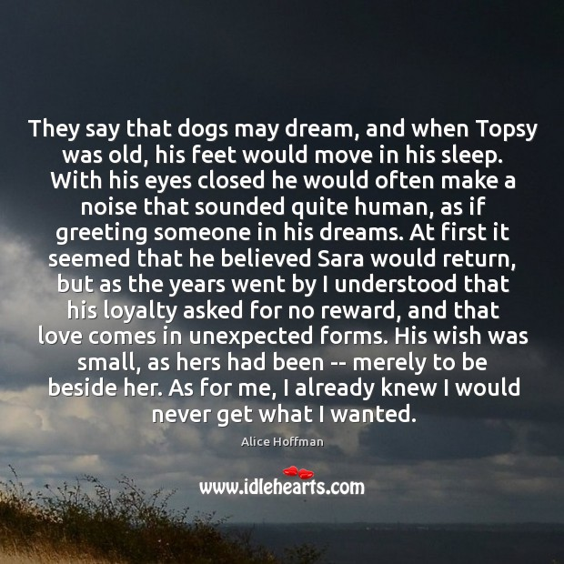 They say that dogs may dream, and when Topsy was old, his Image