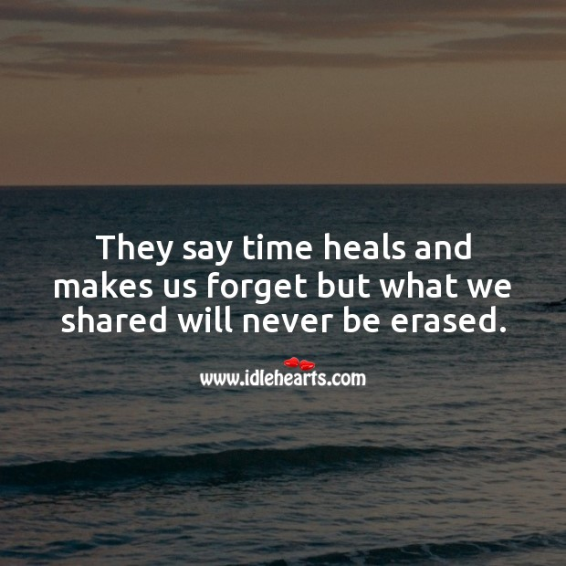 They say time heals and makes us forget but what we shared will never be erased. Sad Love Quotes Image