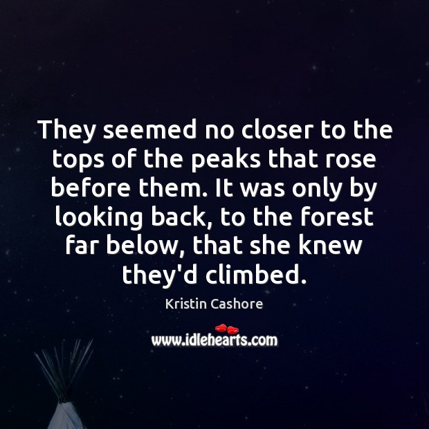 They seemed no closer to the tops of the peaks that rose Image